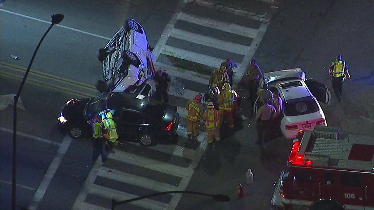 A pursuit ended in a violent crash in Arcadia when a suspected DUI driver crashed into two vehicles, leaving one of the cars involved flipped over.