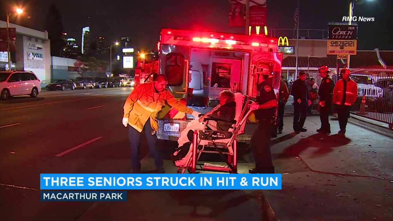 Three seniors were sent to the emergency room after a car hit them and fled the scene Monday night in the Westlake District.
