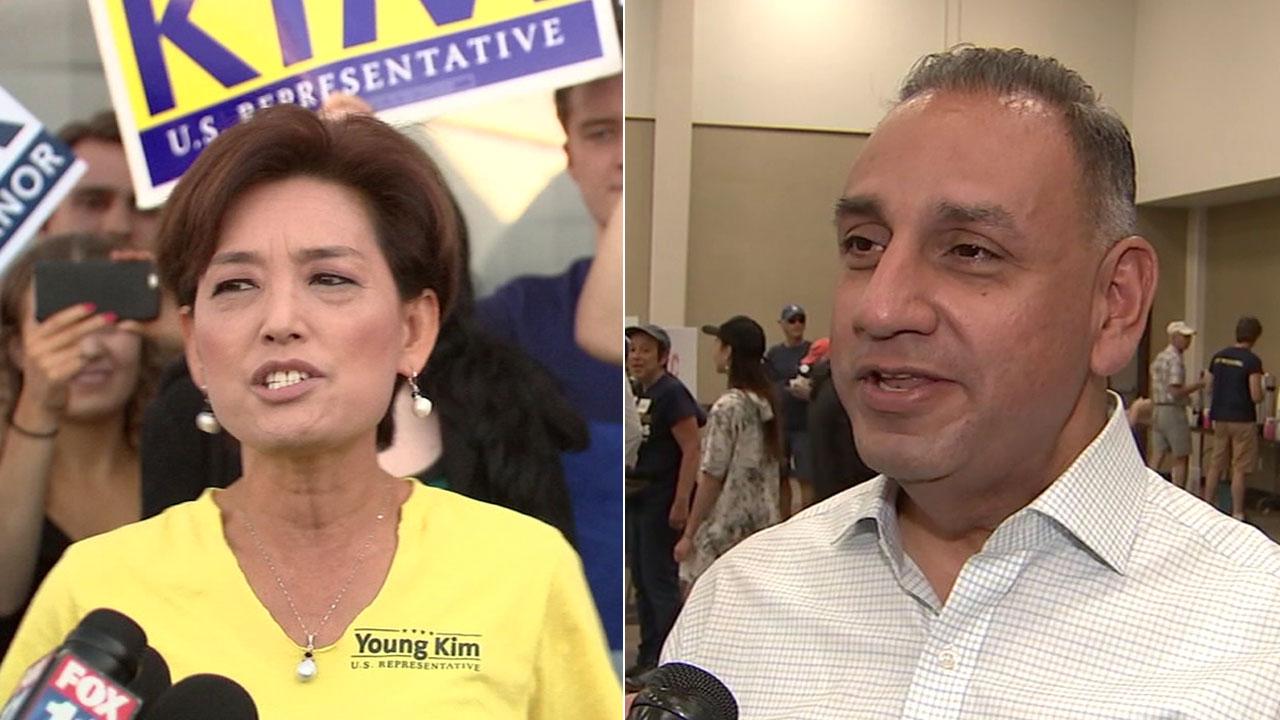 Undated photos of Republican Young Kim and Democrat Gil Cisneros.