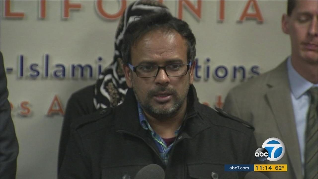 Farhan Khan, the brother-in-law of San Bernardino shooting suspect Syed Rizwan Farook, addresses the media on Wednesday, Dec. 2, 2015.