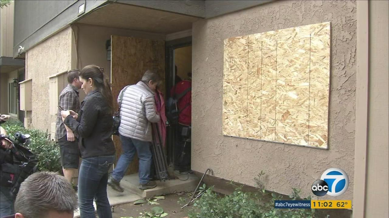 Reporters flooded inside a Redlands home after the landlord of the property let them in on Friday, Dec. 4, 2015. The home is connected to the two San Bernardino shooting suspects.