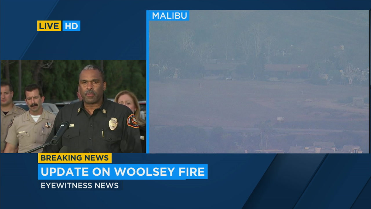 Los Angeles County Fire Department Chief Daryl Osby is shown during a press conference for the Woolsey and Hill fires.