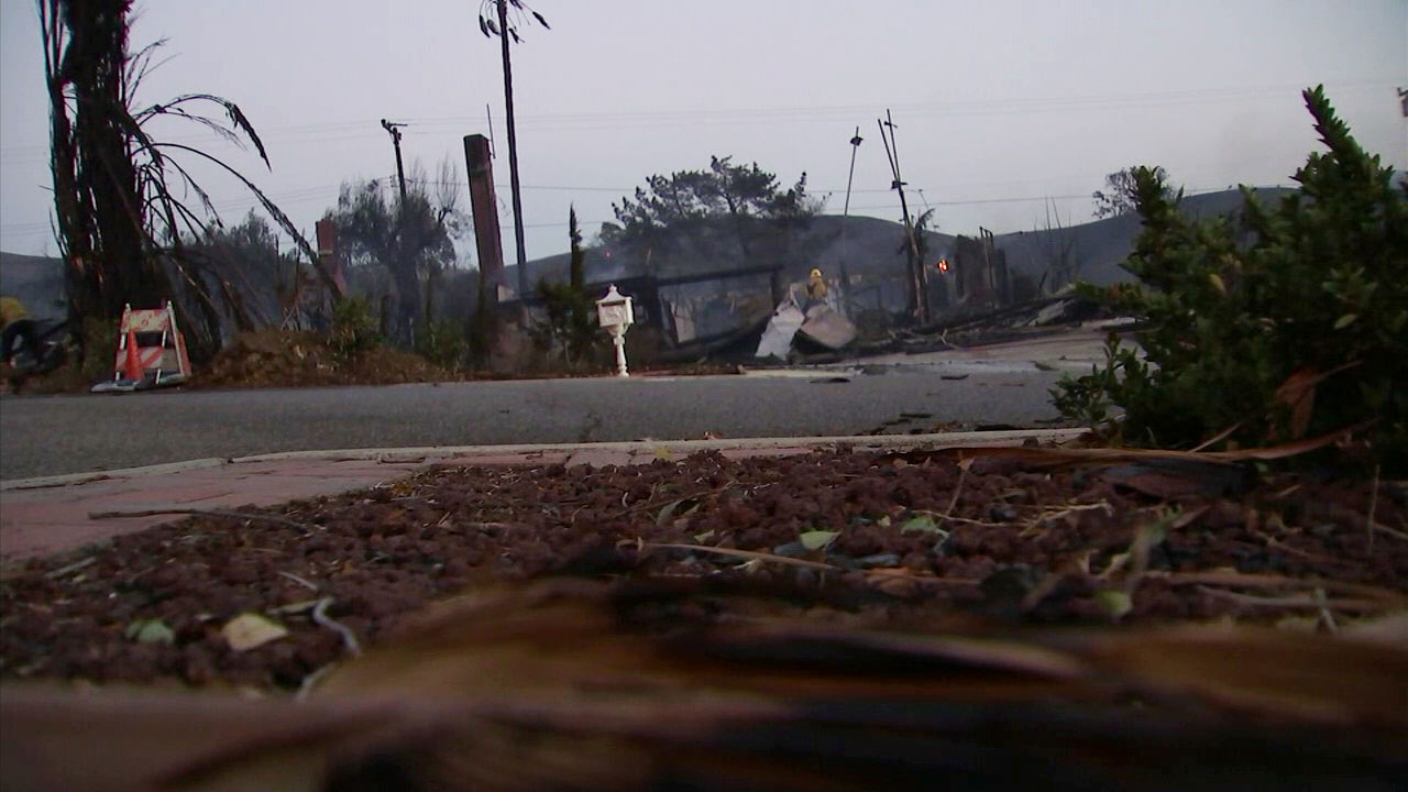 Rubble is left from the Woolsey Fire in a Southern California neighborhood.