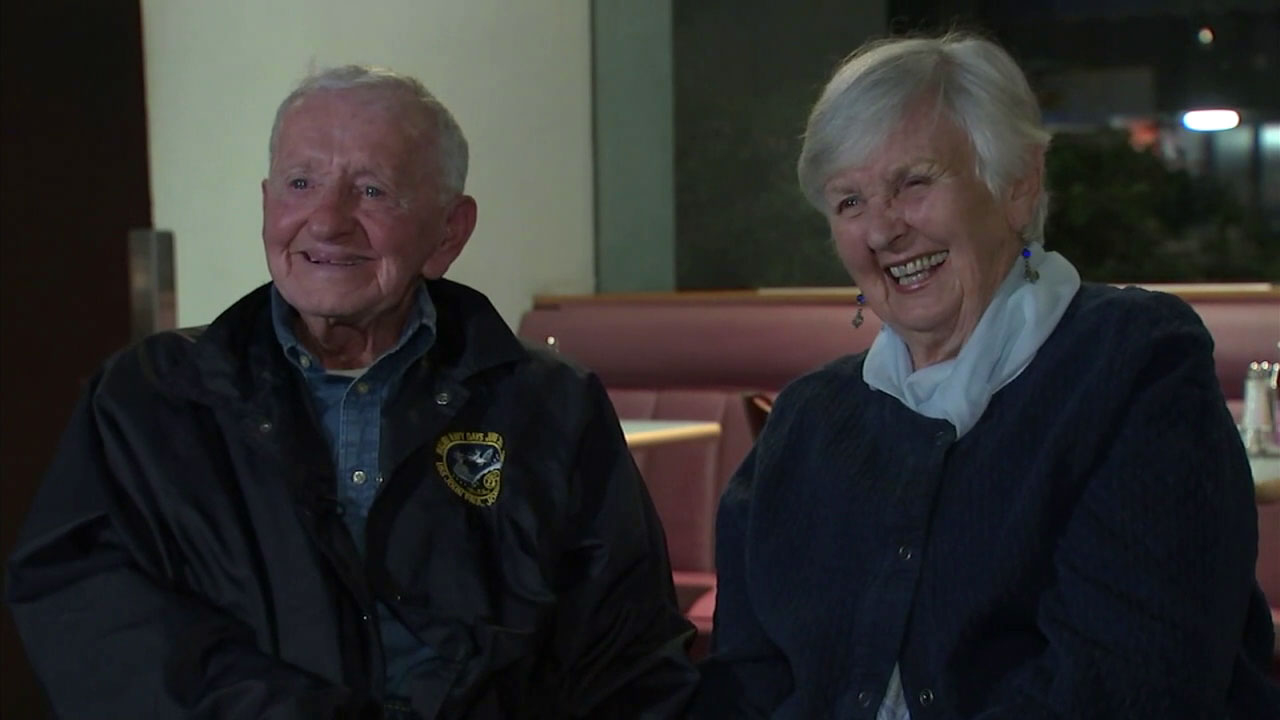 James and Marcella Shirk are shown smiling, joking and laughing despite losing their Malibu home in the Woolsey Fire.