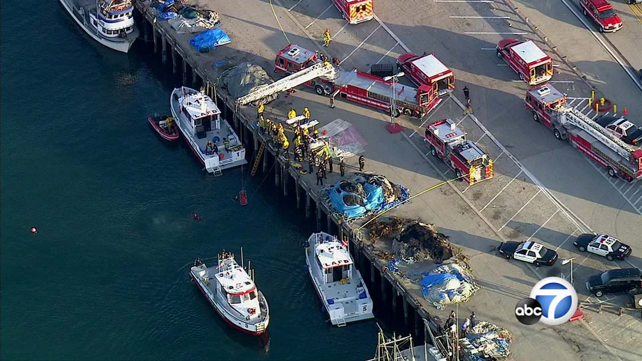Emergency crews respond to a San Pedro pier on April 9, 2016.