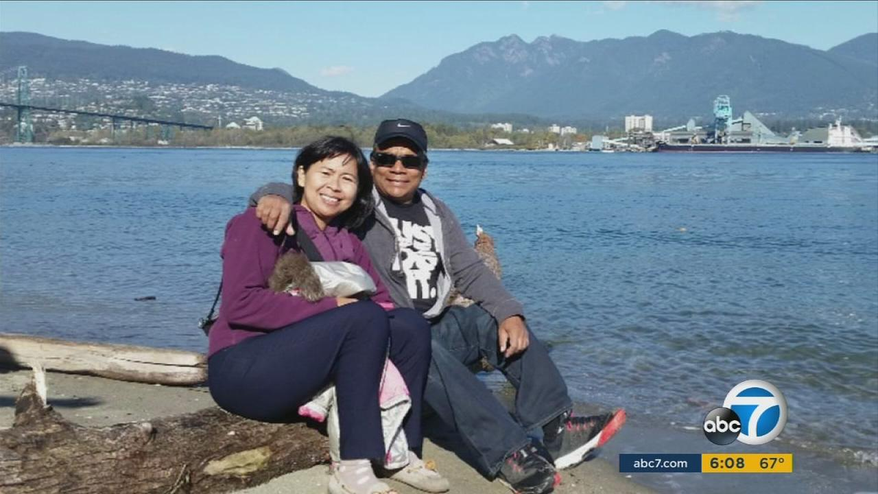 Anies Kondoker, who was shot three times in the San Bernardino terrorist attack, and her husband Salihin Kondoker.
