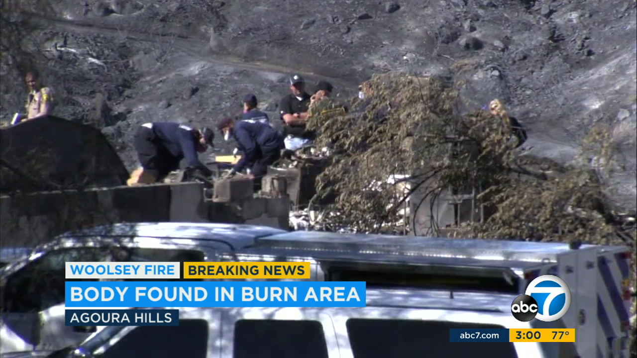 Authorities are investigating an apparent fire-related death in the Woolsey Fire burn area after a body was found in a burned home in Agoura Hills.