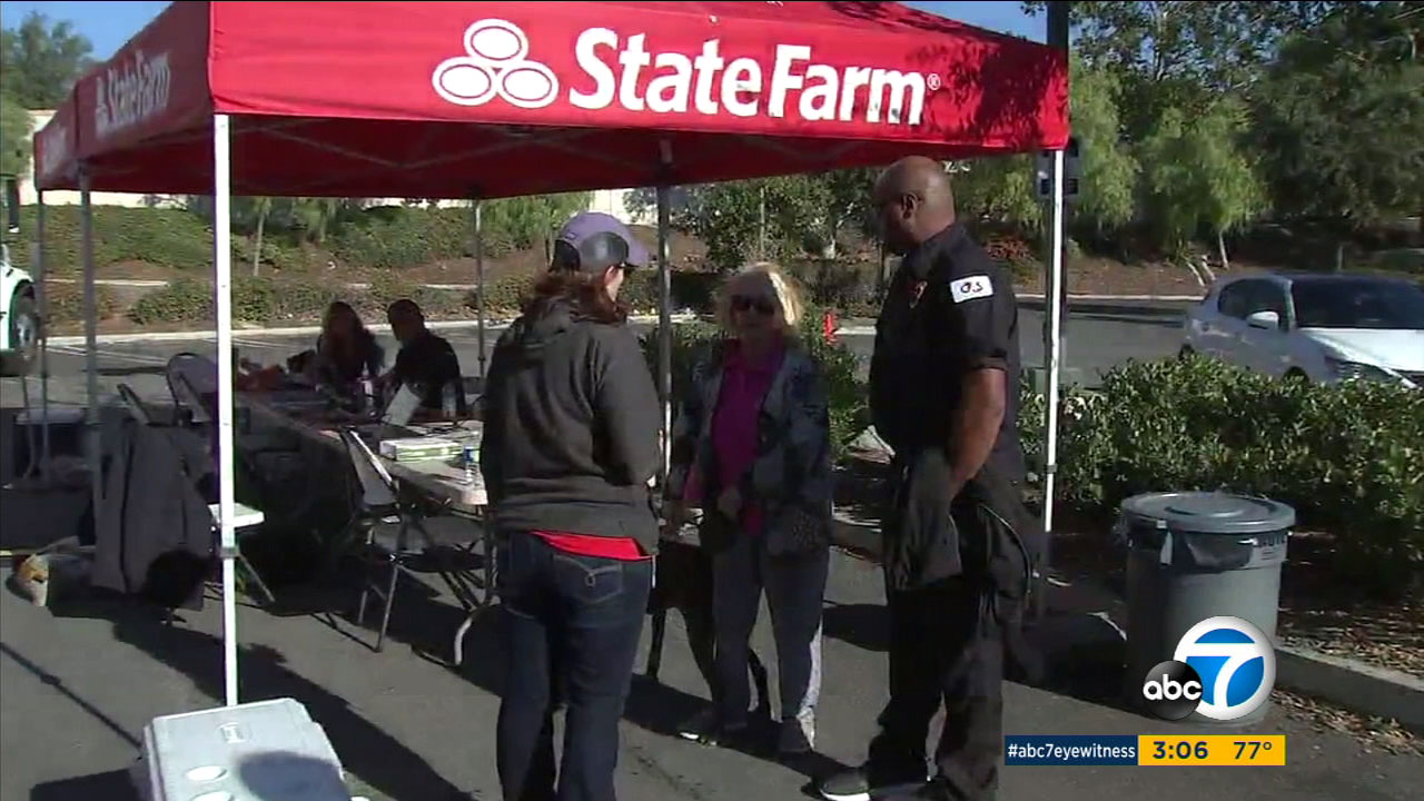 Insurance companies like State Farm are setting up temporary centers to help Woolsey Fire victims who lost their homes, including one Agoura Hills couple.