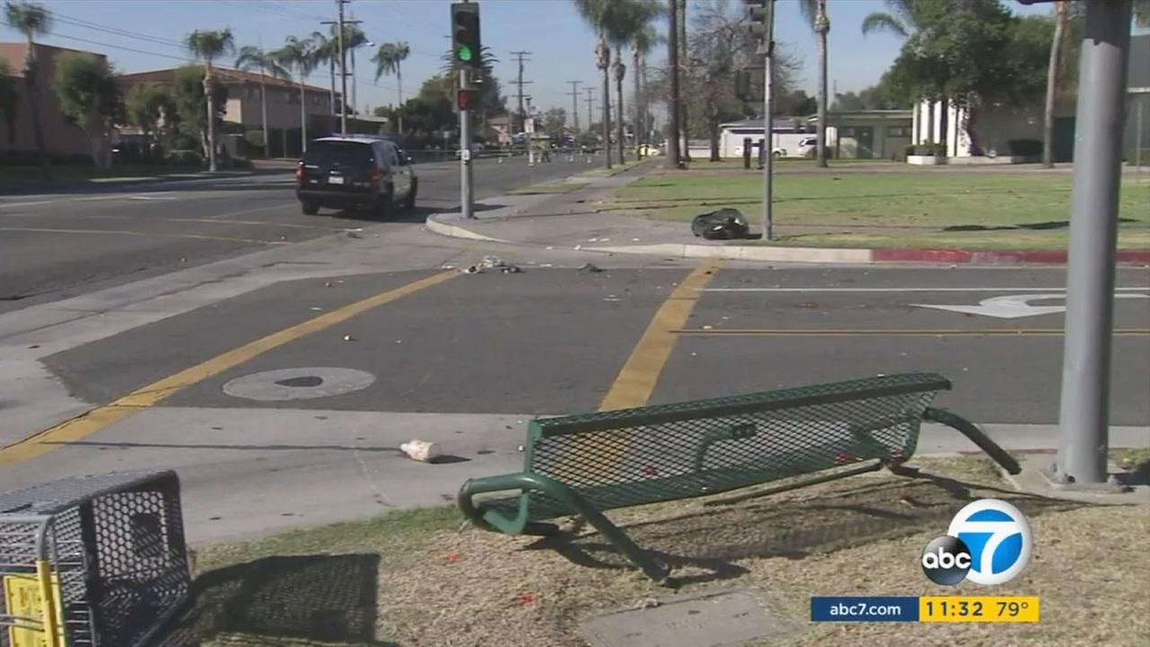 A 72-year-old man sitting on a bus bench with his wife was struck and killed in a hit-and-run crash in Santa Ana on Tuesday, Dec. 8, 2015.