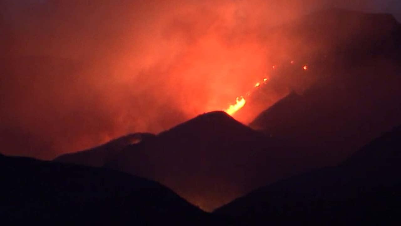 A brush fire in Santa Paula is seen.