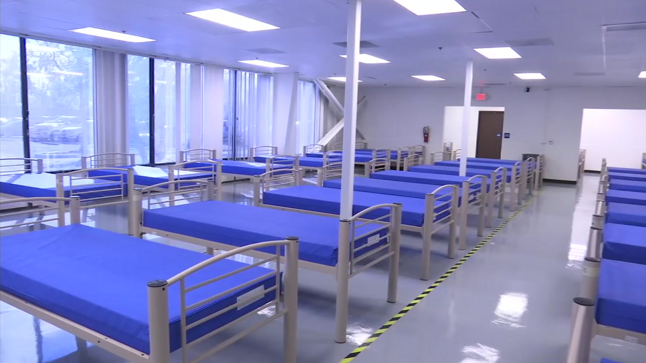 Beds are seen at a homeless shelter in Santa Ana.