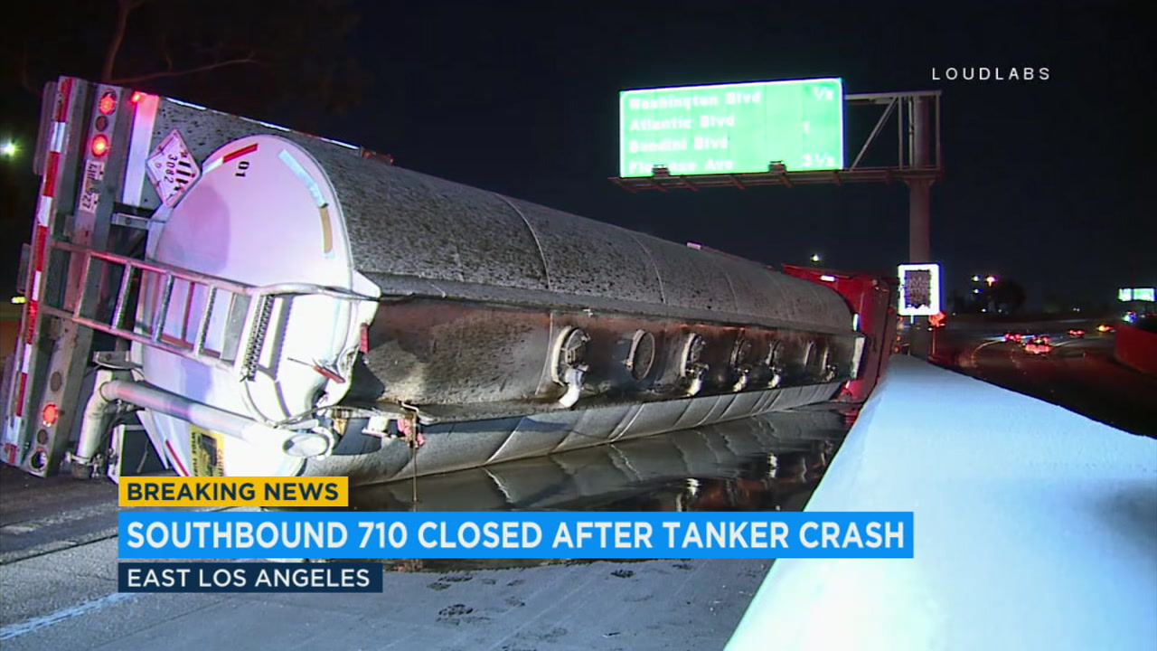 The southbound 710 Freeway in East Los Angeles was closed after a tanker overturned early Thursday morning.