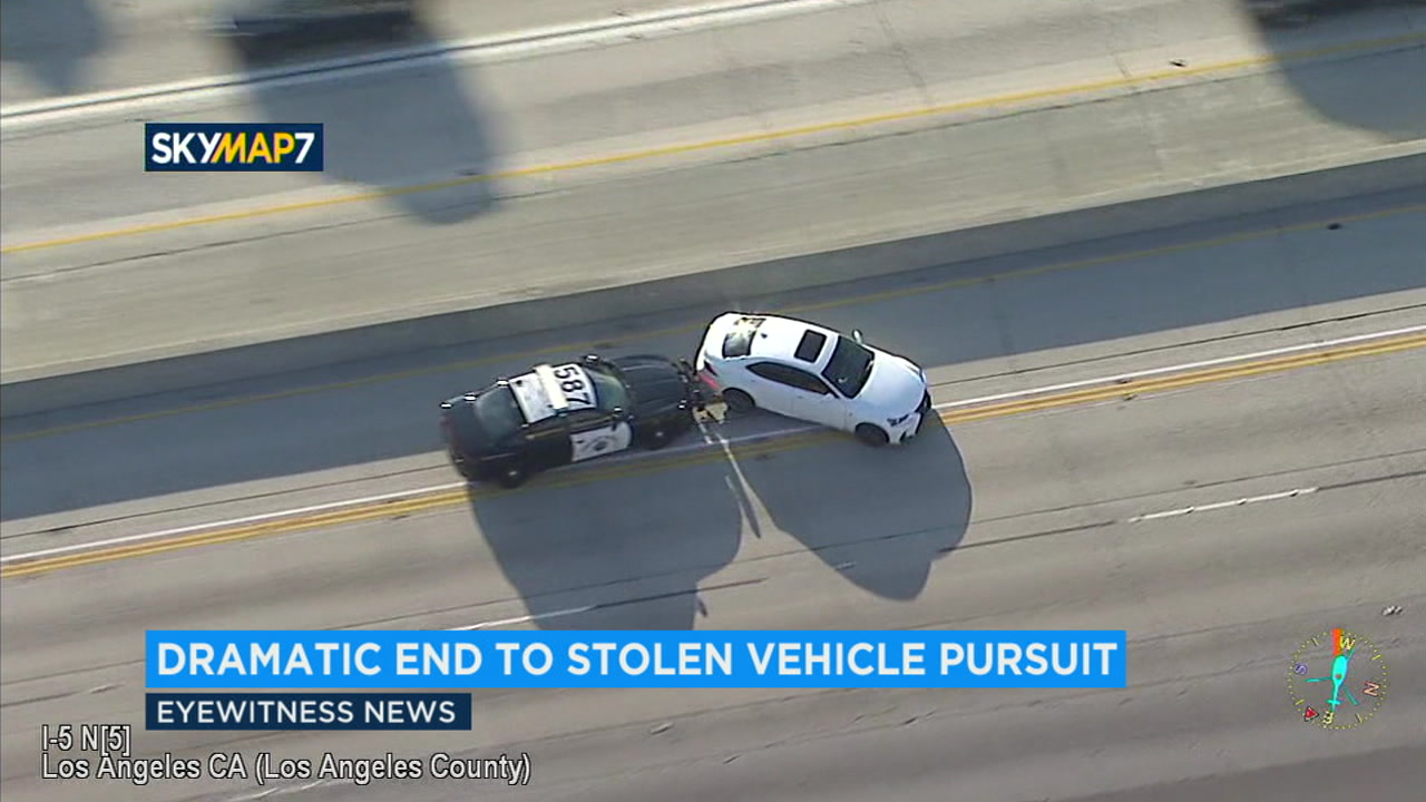 A suspect in a police officers stolen Lexus flew at high speeds over Los Angeles County freeways in a chase that ended in a PIT maneuver and spinout on the northbound 5 Freeway.