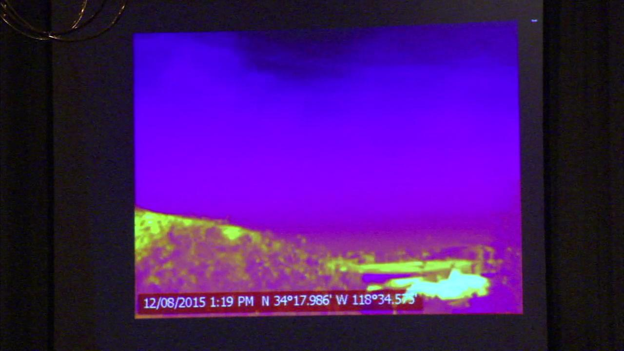 Experts say video shot with an infrared camera shows a toxic gas plume releasing from the side of a mountain in Porter Ranch.