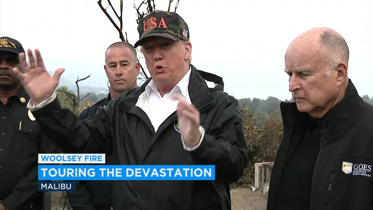 President Donald Trump arrived in Southern California Saturday to meet with people affected by a pair of tragedies - the Woolsey Fire and the Thousand Oaks mass shooting.