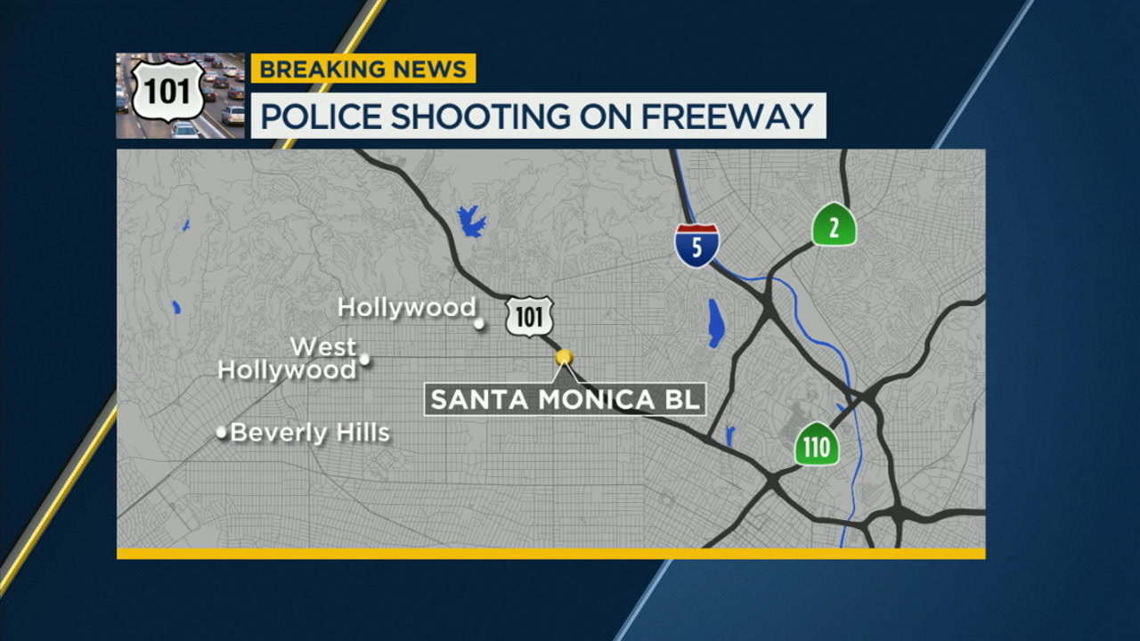 A map shows the area of the 101 Freeway where an officer-involved shooting shut down southbound lanes on Sunday, Nov. 18, 2018.