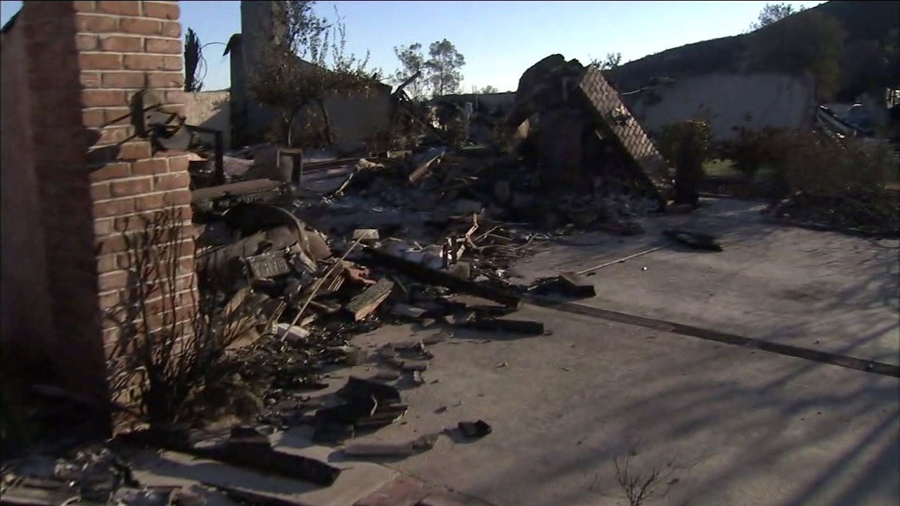 Debris is seen at a property burned down by the Woolsey Fire.