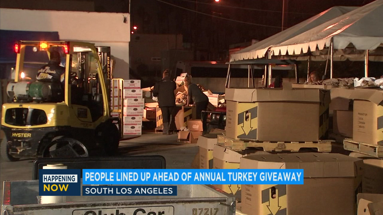The line will stretch hours-long as people wait for a Thanksgiving meal at the annual turkey giveaway in South Los Angeles.