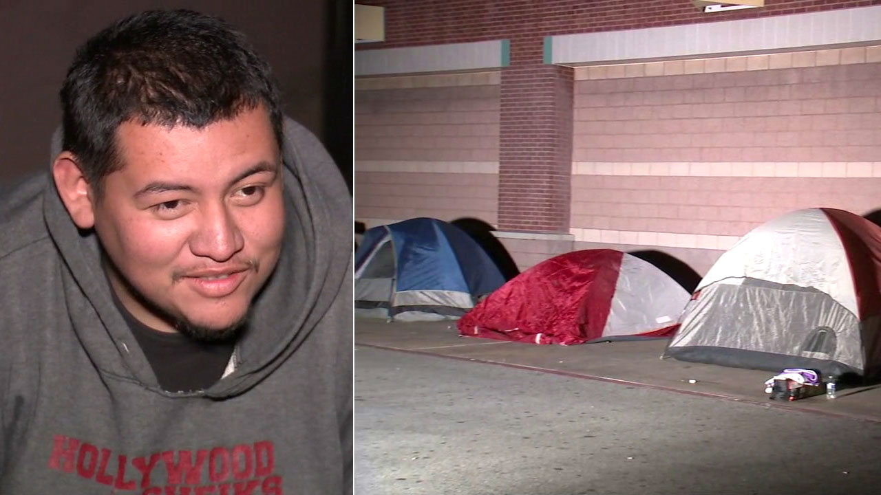 Rigoberto Deleon is shown in a photo alongside tents in front of a Burbank Best Buy.