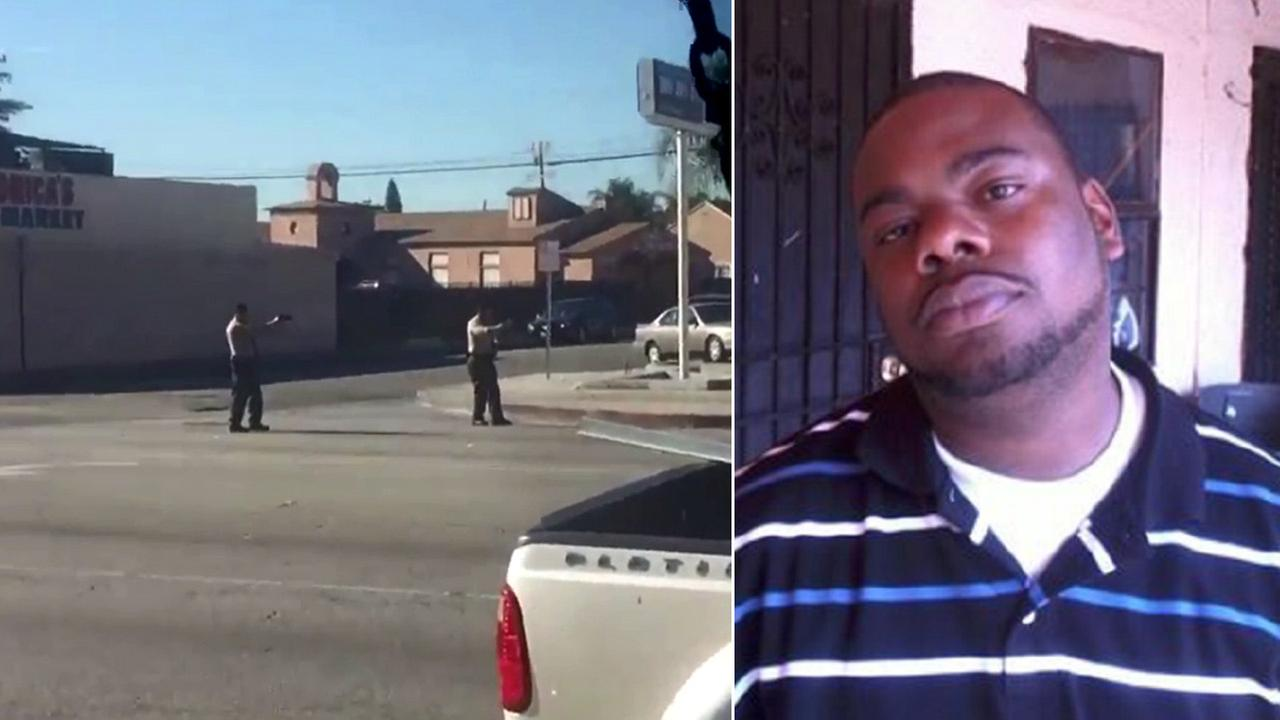 A video captured Los Angeles County sheriffs deputies shooting a suspect, Nick Robertson (left), on Saturday, Dec. 12, 2015. in Lynwood.