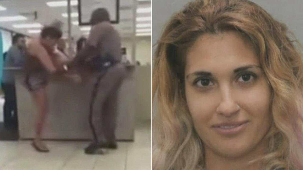 A womans wild and violent confrontation at a south Florida Department of Motor Vehicle office was all caught on video.