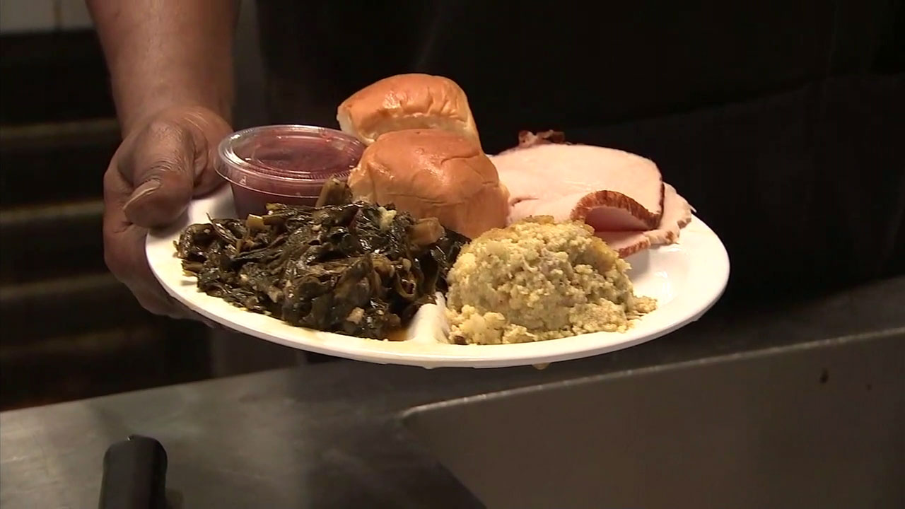 A meal served at the Los Angeles Mission is shown in a photo.