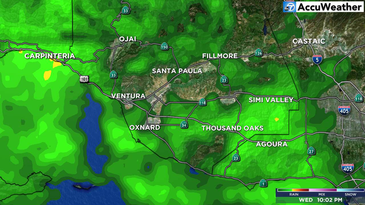 The LIVE MegaDoppler HD shows rain in Ventura County on Wednesday, Nov. 21, 2018.