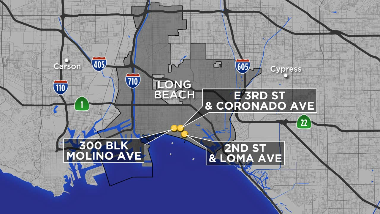 A map shows the locations where women were groped in Long Beach.
