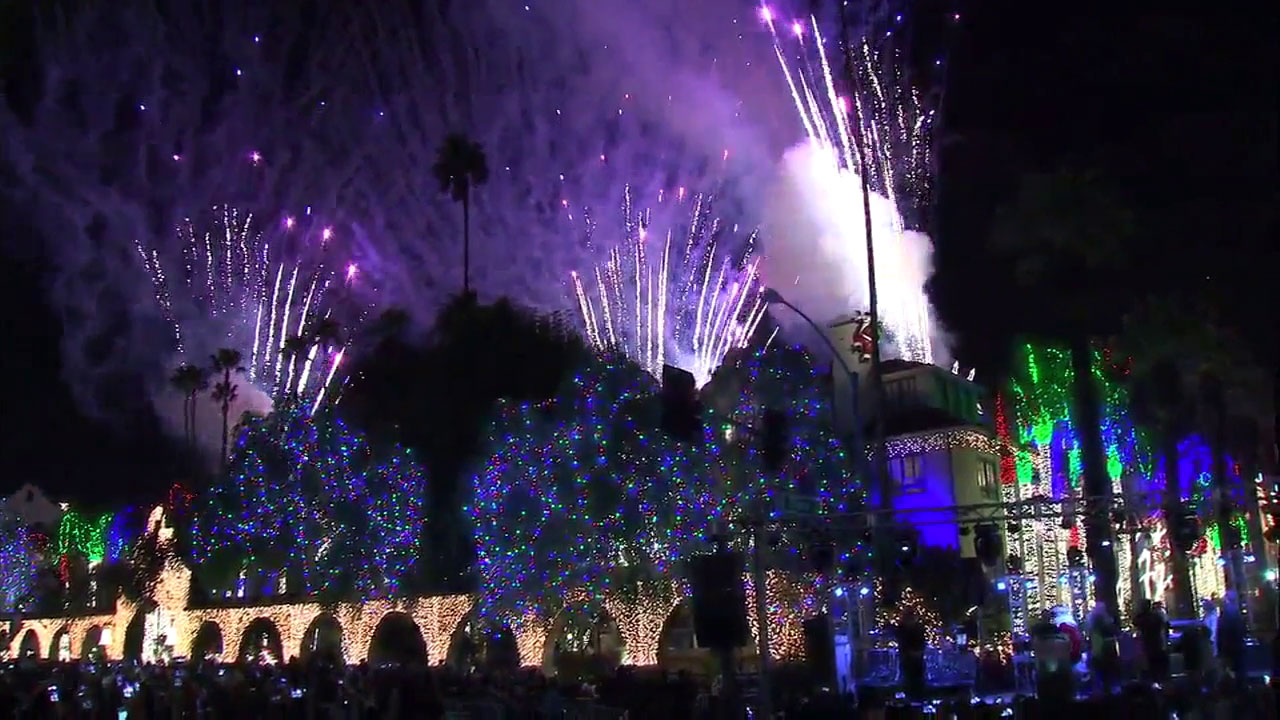 Fireworks and all the lights at the historic Mission Inn in Riverside are shown during the lighting ceremony on Friday, Nov. 23, 2018.