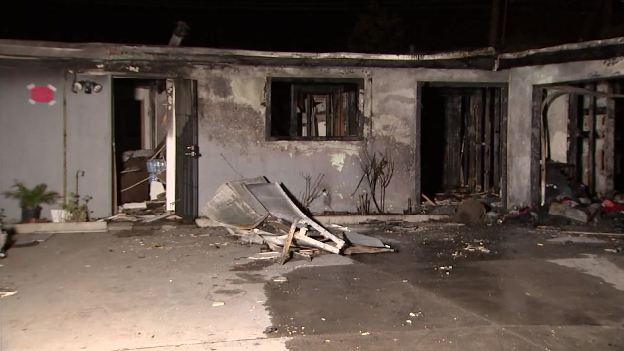 The shell of a home is shown after an explosion and subsequent fire destroyed it in Oxnard.