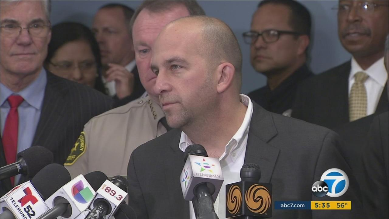Los Angeles Unified School District officials brief the media after campuses were searched and deemed safe following a threat on Tuesday, Dec. 15, 2015.
