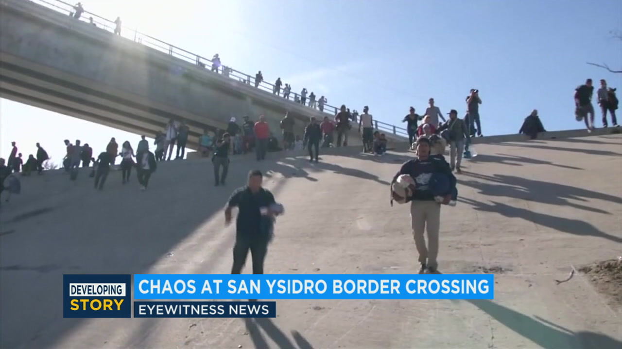 U.S. border agents fired tear gas on hundreds of migrants near the border with Mexico after some of them attempted to get through the fencing separating the two countries.