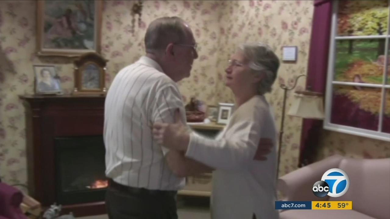 Desi Assise and Harry Lomping dance in a reminiscence therapy room at The Easton Home in Easton, Penn.