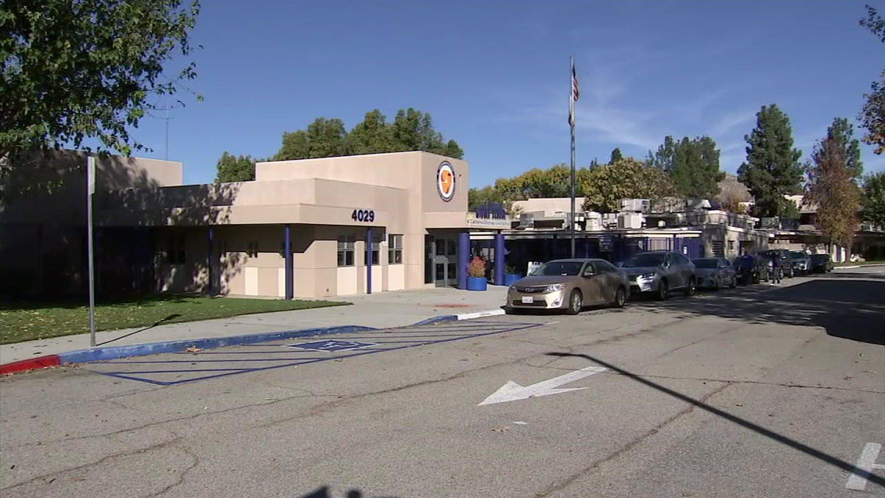 A school in Calabasas that reopened Monday is shown in a photo.
