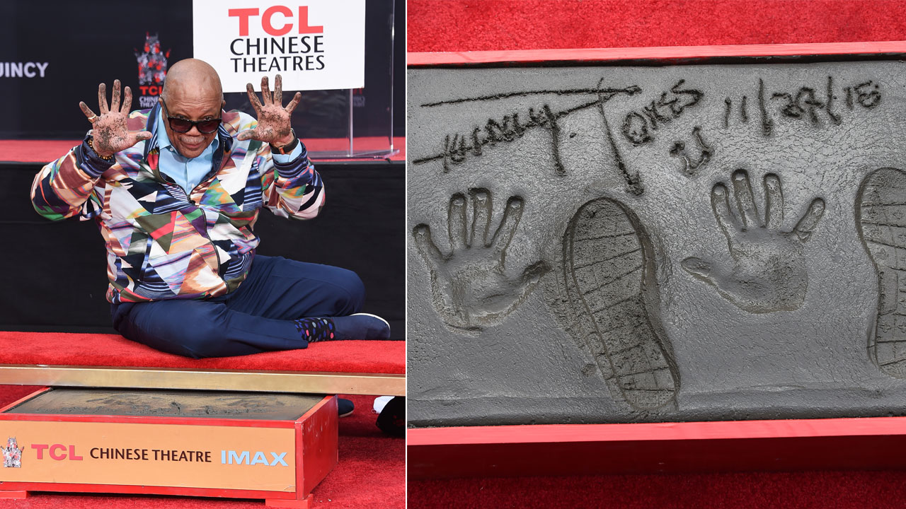 Quincy Jones hand and footprints are pictured following a hand and footprint ceremony honoring Jones at the TCL Chinese Theatre on Tuesday, Nov. 27, 2018, in Los Angeles