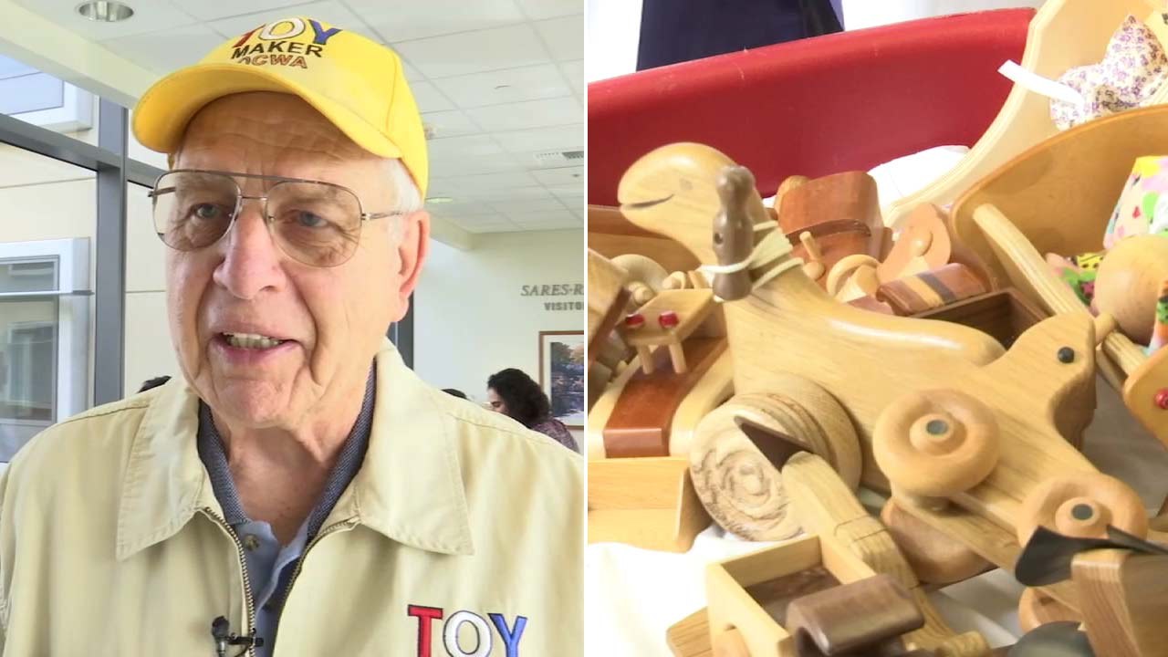 Bill Rogers, 82, makes toys for children in need.