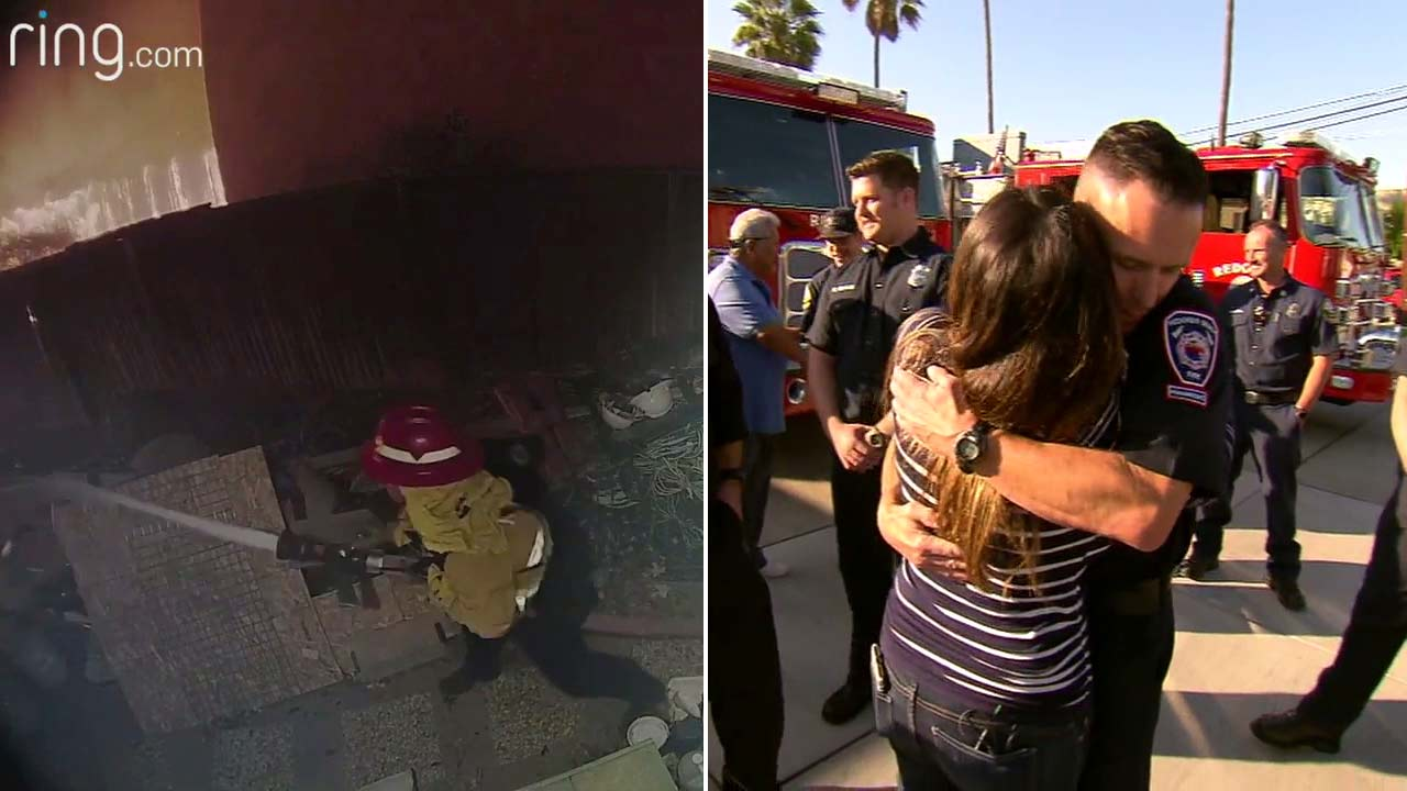 Courtney McClains home security video captured a firefighter saving her home from the Woolsey Fire.