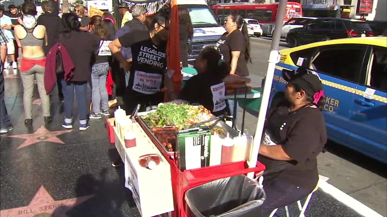 A street vendor is shown in Los Angeles.