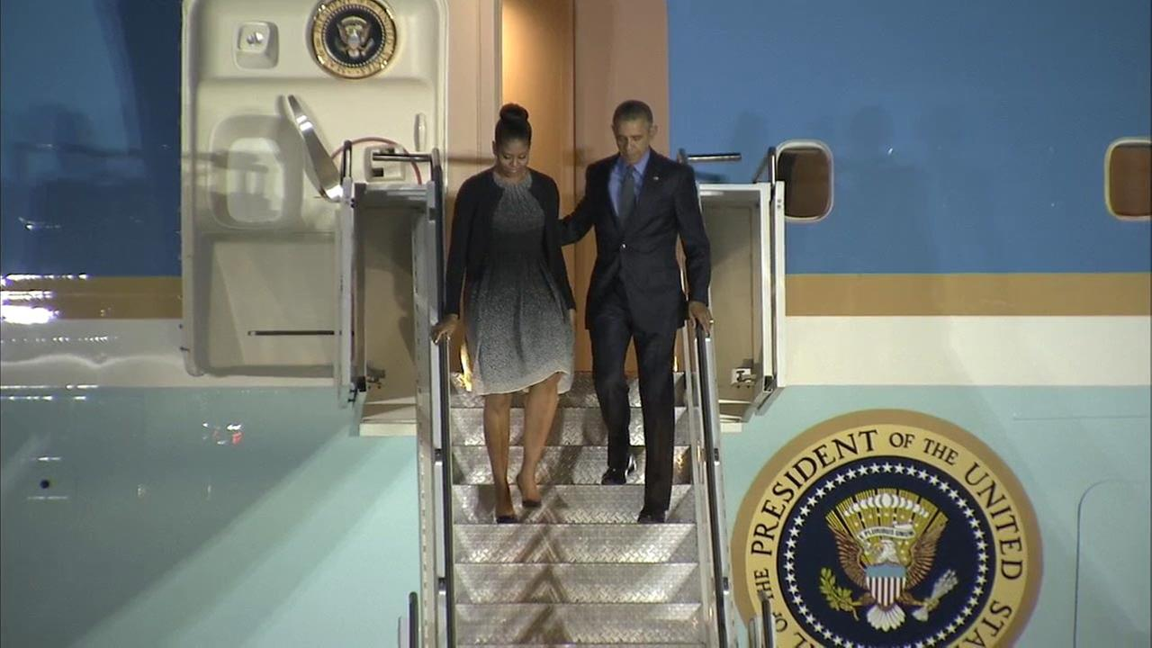 Obama and the first lady arrive in San Bernardino on Friday, Dec. 18, 2015, to meet with the families of victims killed in the terror attack.