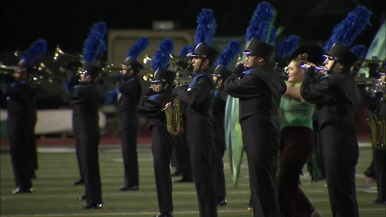 Members of a marching band in Thousand Oaks are shown during a late competition.