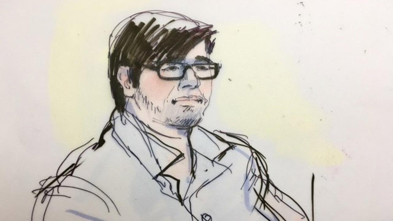 Enrique Marquez is shown in an sketch inside a Riverside federal court room on Monday, Dec. 21, 2015.