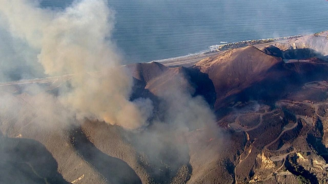 AIR 7 HD captures images from above of the Solimar Beach fire burning the hillsides of Ventura on Saturday, Dec. 26, 2015.