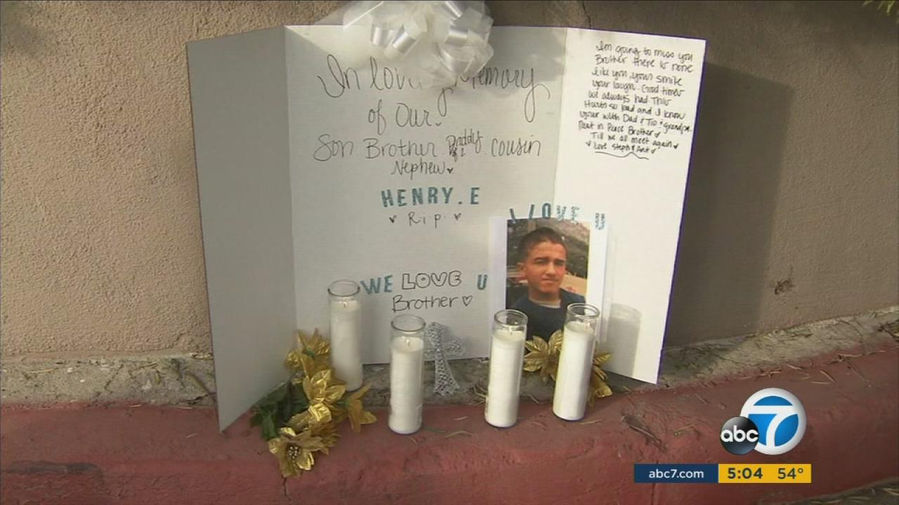 Henry Estrada, 27, is honored at a memorial near the site where he was shot in the Hollywood Hills.