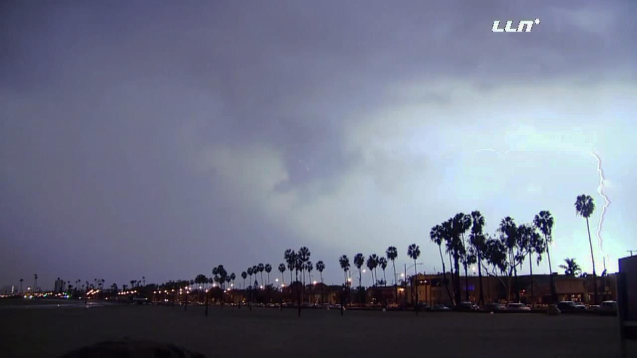 Lightning lit up the night skies in Long Beach on Wednesday, Jan. 6, 2016.