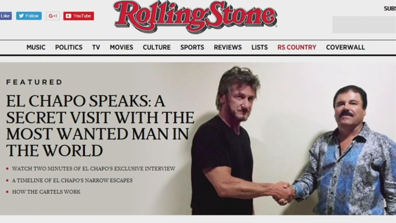 Joaquin El Chapo Guzman poses with actor Sean Penn on the cover of a Rolling Stones article.