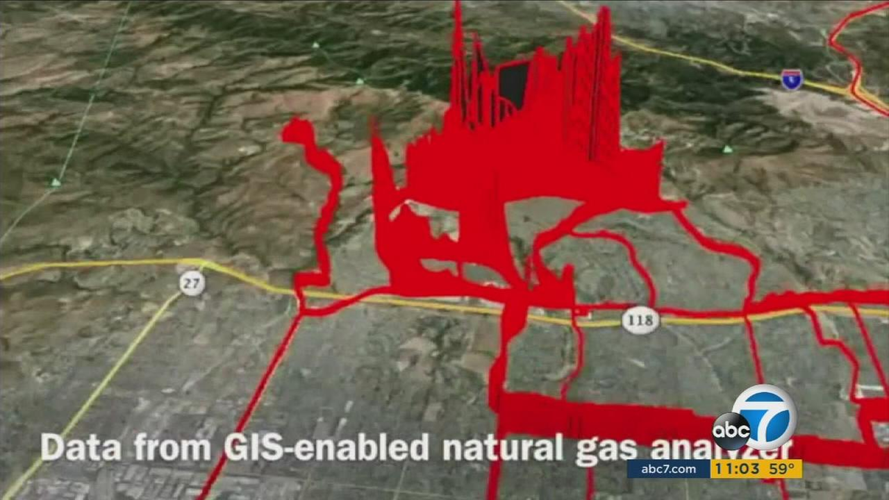 Scientific images show the extensive scope of a months long gas leak at Southern California Gas Co.s Aliso Canyon storage facility near Porter Ranch.