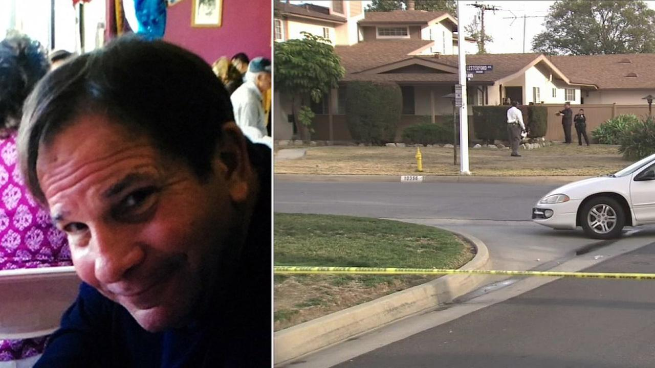 Jim Rudometkin, 59, is shown in an undated photo alongside an image of the crime scene where he was killed on Sunday, Jan. 17, 2016.
