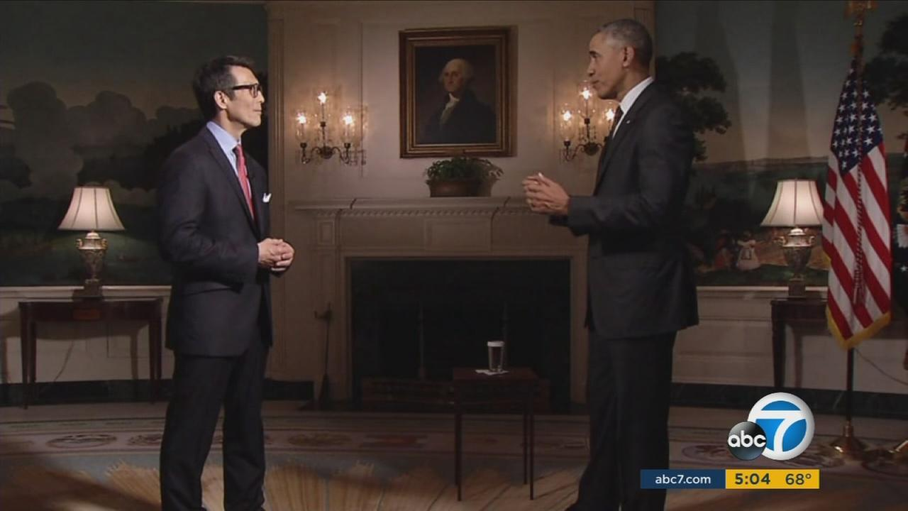 President Barack Obama talks about inclusion and diversity at the Oscars in an exclusive interview with ABC7s David Ono on Wednesday, Jan. 27, 2016.