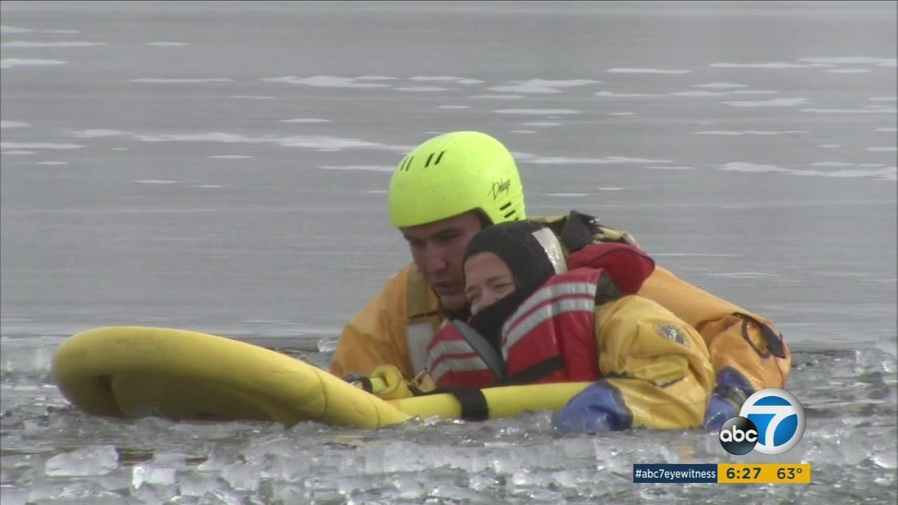 San Bernardino County first responders took part in a ice rescue training on Wednesday, Jan. 28, 2016.