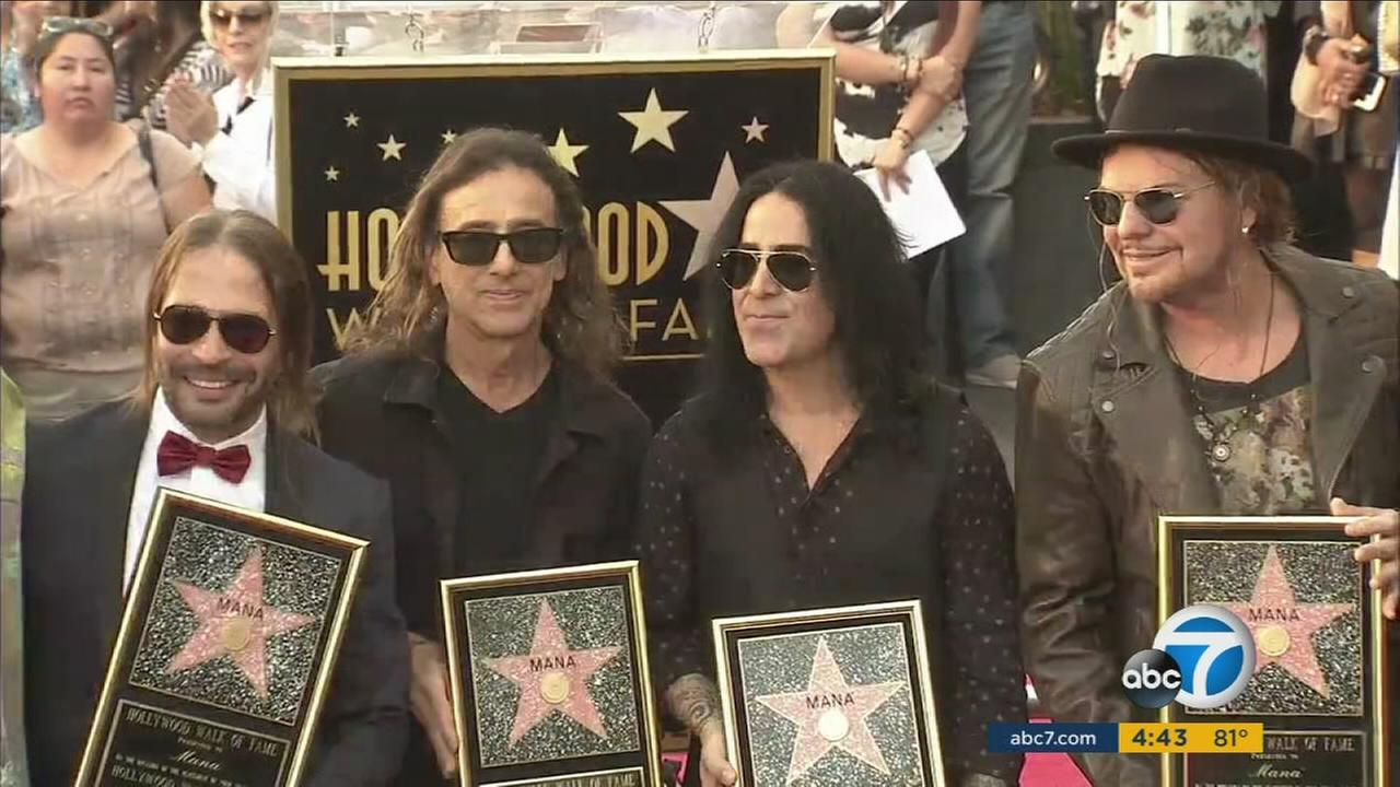 Members of the Mexican rock band Mana received a star on the Hollywood Walk of Fame on Feb. 10, 2016.